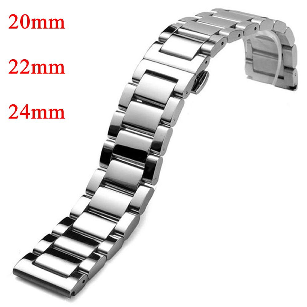 20mm 22mm 24mm Watchband Silver Stainless Steel Solid Links Deployment Buckle Men Band Strap Bracelet for Male Wrist Watch carlywet 22 24mm silver solid screw links replaceme 316l stainless steel wrist watch band bracelet strap with double push clasp
