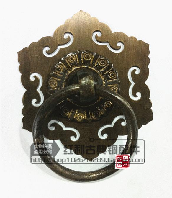 The bonus of classical copper fittings Chinese door decoration ring antique copper copper handle glass door wooden door cymbals [bonus] antique copper copper fittings of classical chinese furniture copper ring handle drawer door handle
