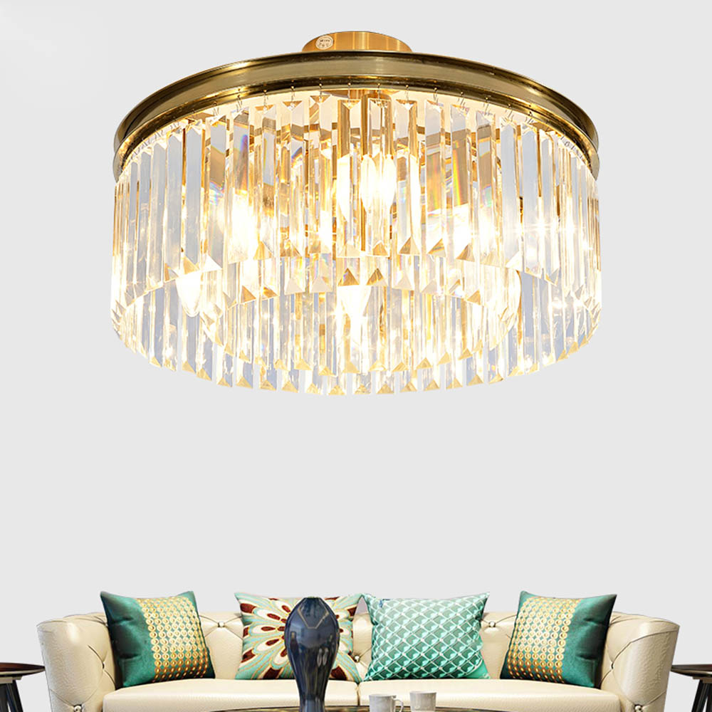 Postmodern Nordic Luxury Crystal Glass Lampshade Round Shape LED Ceiling Light Fixture Kit for Hotel Hall Living Room Home Decor