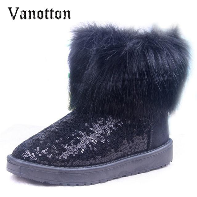 Pele De pelúcia Quente Botas De Neve Brilho Que Bling de Lantejoulas das Mulheres Tornozelo Moda Botas de Inverno Sapatos de Algodão Para A Mulher