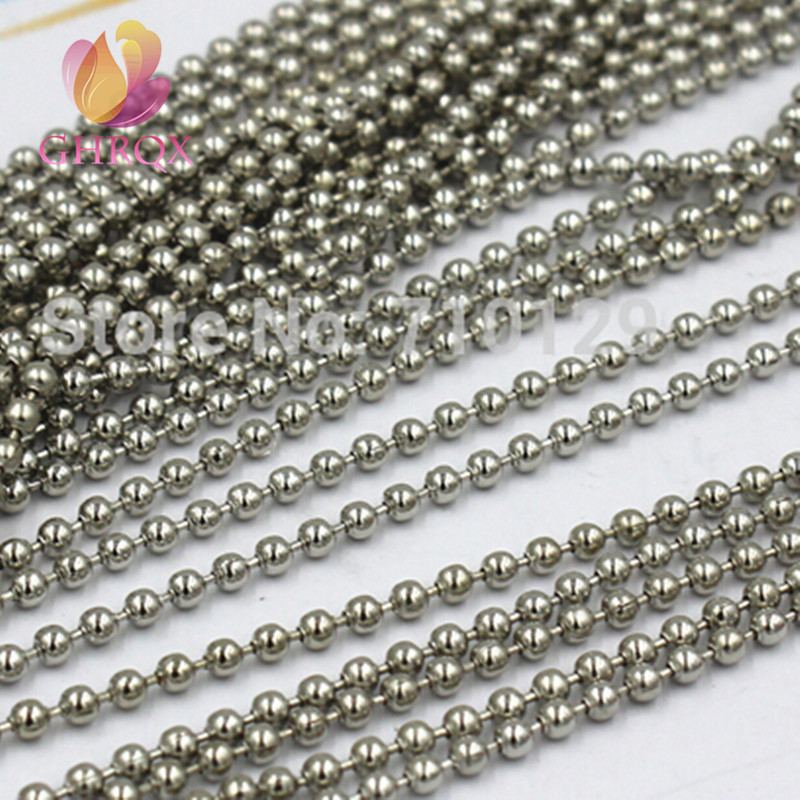 "Lot 250 BALL CHAIN Necklace 24/"" 2.4mm Bead Silver Nickel Plated Steel"