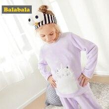 Balabala Girls 2-Piece Cat Snug Fit Cotton&Fleece Pjs Long Sleeve Crewneck Shirt + Pull-on Pants Set Teenage Girls Pajamas Set  - buy with discount