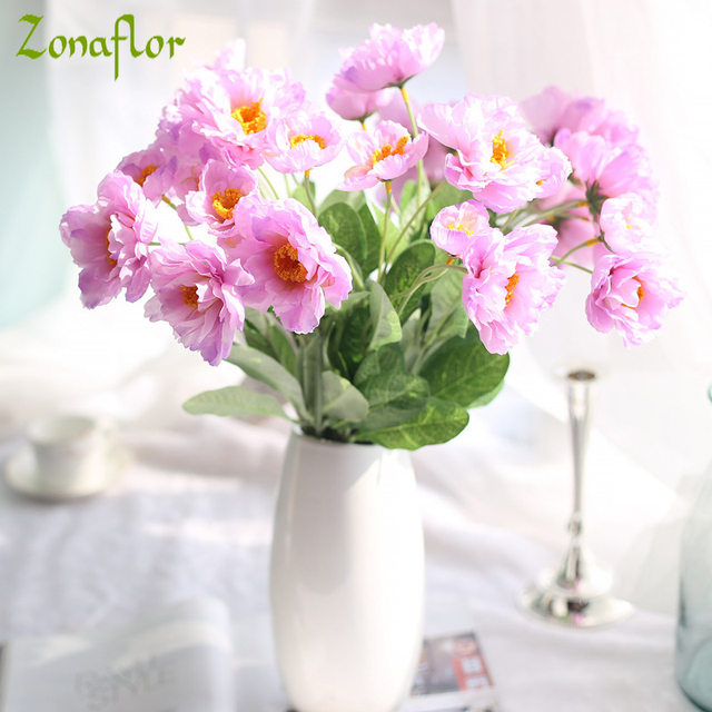 Zonaflor artificial flower bouquets artificial poppy flowers new zonaflor artificial flower bouquets artificial poppy flowers new wedding decorative fake flower home decoration accessories mightylinksfo