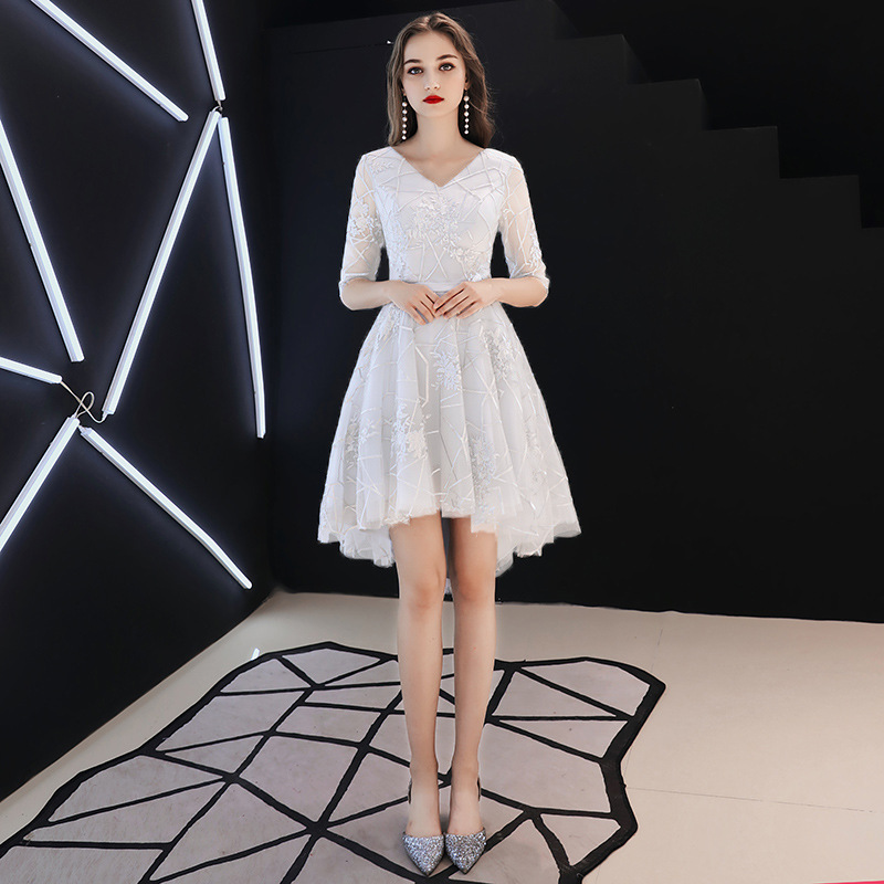 Plus Size   Evening     Dresses   Elegant O-neck Champagne Formal Prom   Dress   Short Sleeve Lace White Long A-line Bandage Party Gown E358