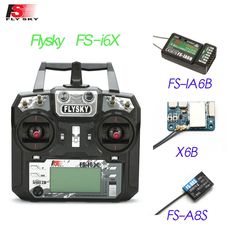 Flysky FS-i6X 2.4GHz 10CH AFHDS 2A RC Transmitter With X6B iA6b i-BUS A8S Receiver For Rc Airplane Mode 1 Mode 2