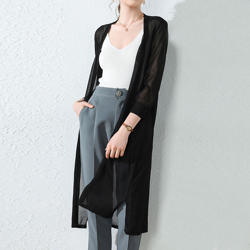 Women Midi Long Thin Cardigan Jacket Summer Autumn Casual Silk Knitted Cardigans Female Loose Sweater Coat Plus Size 3XL AB1508