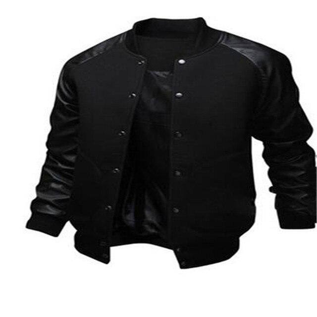1a8725a3fd5 New Stylish Varsity Jacket Men Cotton Pu Leather Stitching Baseball Jackets  Autumn Winter Fashion Single Button Mens Slim Coats
