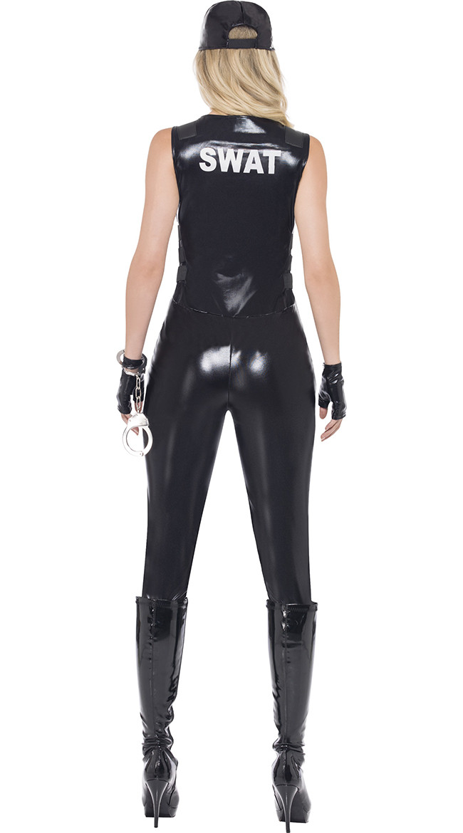 Image 5 - 2018 Sexy Women Black PU Leather SWAT Sniper Jumpsuit Halloween Cosplay Police Cop Costume Uniform-in Holidays Costumes from Novelty & Special Use