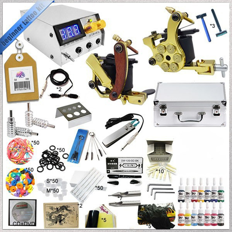 ФОТО Starter Aluminum Wire Coils Tattoo Kit ,2 Handmade Tattoo Machine Kit, 14 Colors Tattoo Ink Led Dual Power Tattoo Needles Grips