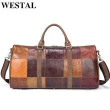 WESTAL Large Luggage Bag Genuine Leather Men Travel