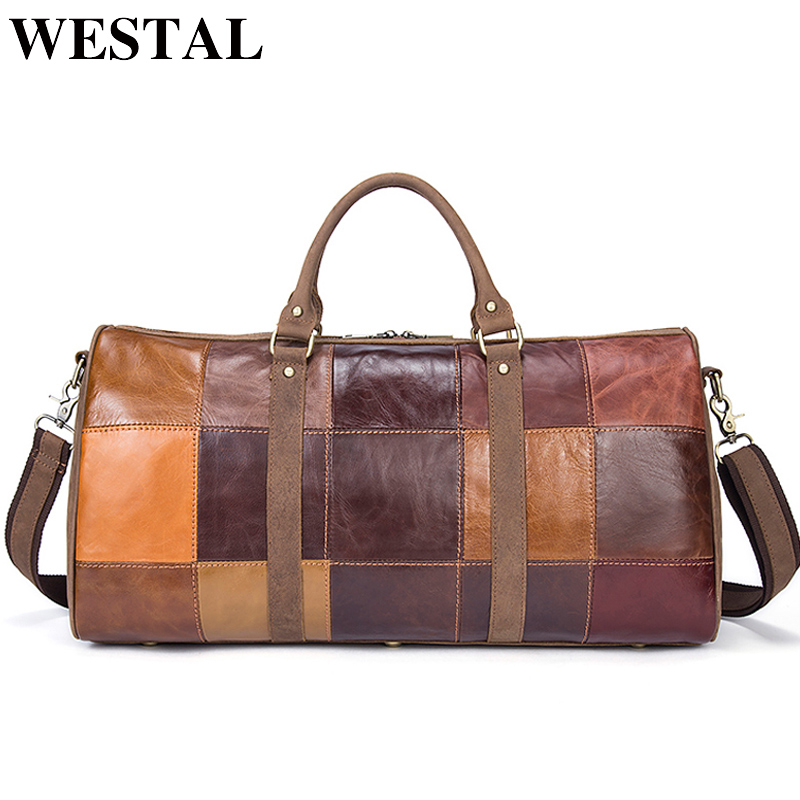 WESTAL Patchwork Genuine Leather Men Bags Men Duffle Bag Leather Luggage Travel Bags Men