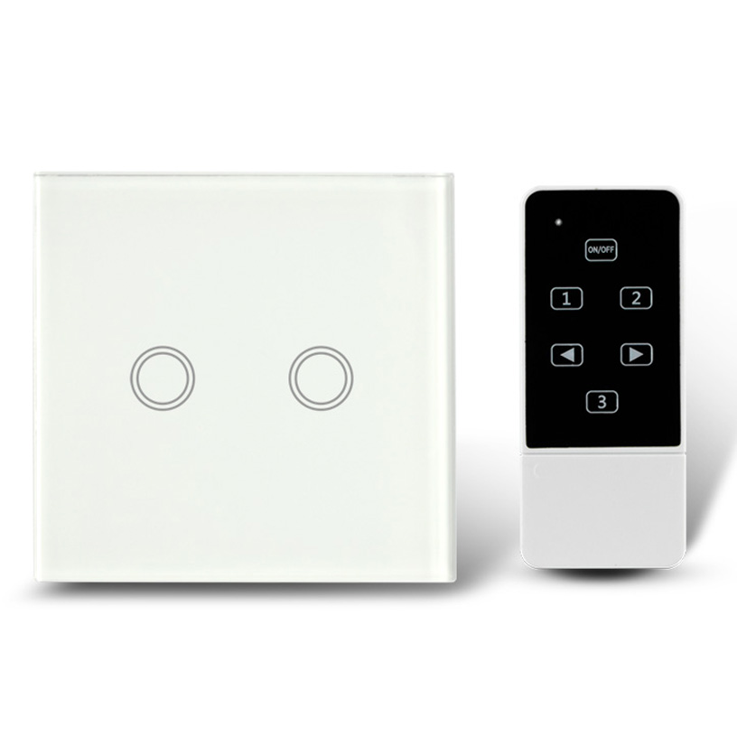 New Plain White 2 Gang 1 Way Remote Control Switch AC 110-240V Touch Screen Glass Panel Wall Light Switch European Standard white 1 gang 1 way led crystal glass panel light touch screen remote switch for light with wireless remote control 110v 220v