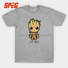 I Am Groot T Shirt Men's Guardians Of The Galaxy Tops Tee Short Sleeve O Neck Anime Funny Clothes 100% Cotton XXXL T-Shirts
