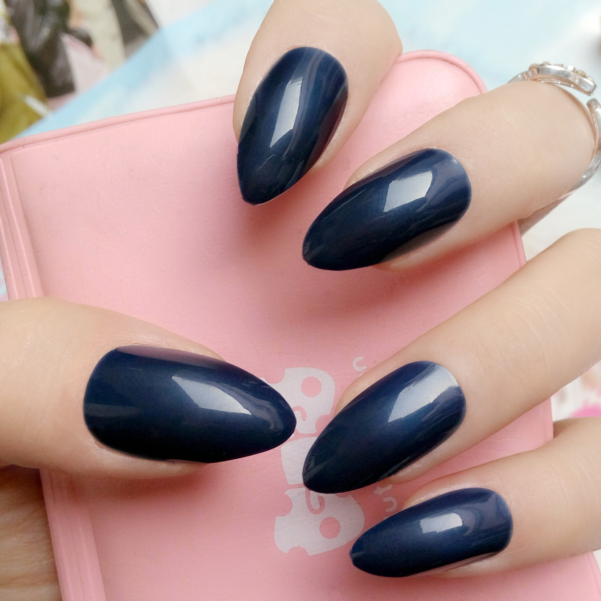 Candy Color Navy Blue Fake Nails Stiletto Nails Tips Short Size ...