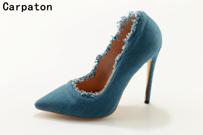 Carpaton new arrival women blue demin high heels pointed toe slip on shoes sexy party and casual pumps ladies Autumn stilettos new arrival women sky blue high heel slip on sexy stilettos white cloud decoration cute bride shoes wedding women stilettos pump