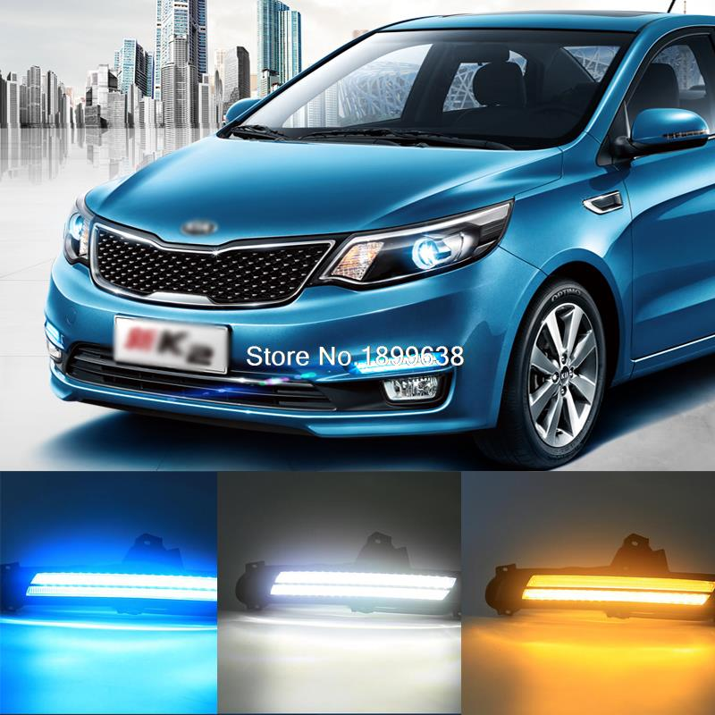 3 colors white yellow ice-blue High quality LED Car DRL Daytime running lights fog light double lamps For KIA K2 RIO 2015 2016 high quality 3 colors white yellow ice blue led car drl daytime running lights fog light with yellow turn signal for honda jade