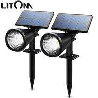 LITOM LED Güneş Paneli ışık Su Geçirmez Spotlight Peyzaj Bahçe Yard Yolu Çim Güneş Lambaları Açık Topraklama Güneş Işık