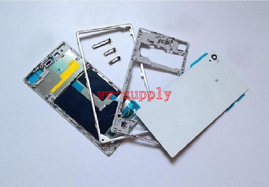 Full Housing Front Chassis + Middle Frame + Back Battery Case + Port Cover + Sticker for Sony Xperia Z1 L39H C6902 C6903 C6906|Mobile Phone Housings & Frames| |  - title=