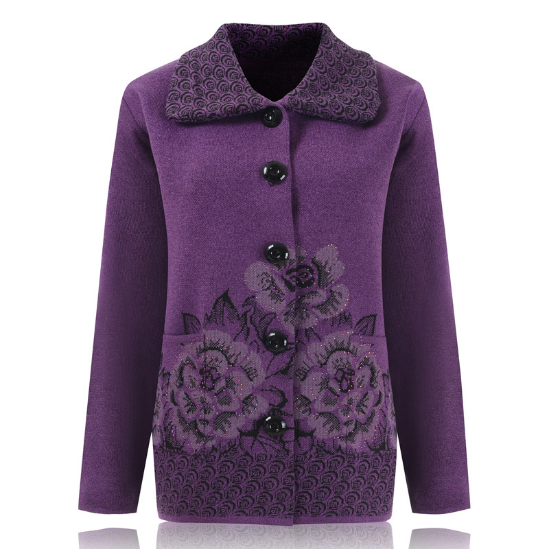 Middle Aged Women Cardigan 2017 Autumn Winter Cardigan Female Long Sleeve Mother Floral Printed Knitted Sweater Jacket