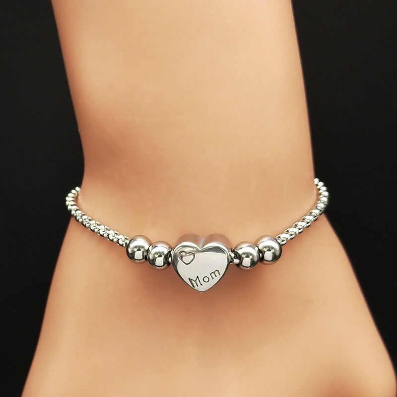 2019 moda mama bransoletki ze stali nierdzewnej kobiety kolor srebrny koralik Charm bransoletka biżuteria bransoletka acier inoxydable femme B18242