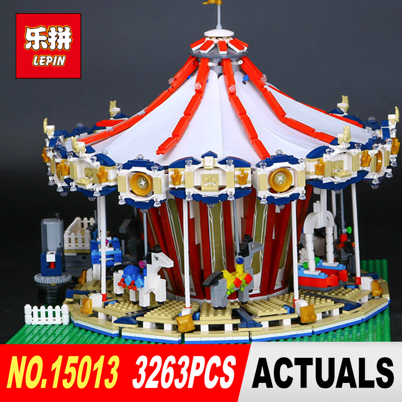 Lepin 15013 3263PcsCity Sreet set Carousel Model Building Kits Blocks Toy Compatible 10196 with Funny Children Educational Gift new lepin 22001 pirate ship imperial warships model building kits block briks toys gift 1717pcs