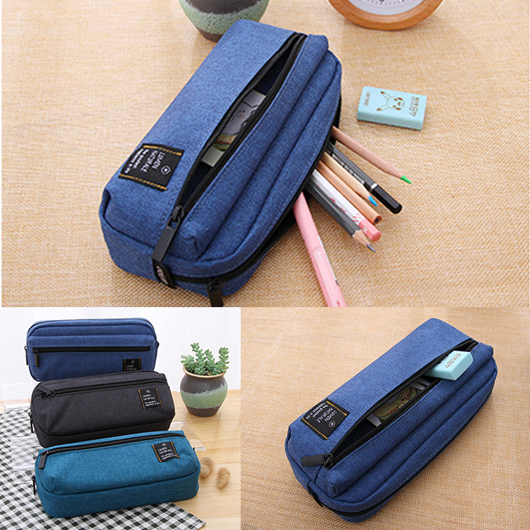 Deli Canvas Pencilcase for school Supplies Student Bts Stationery Storage bag Gift Pencil Bag School Case pencil pouch for Boy big capacity high quality canvas shark double layers pen pencil holder makeup case bag for school student with combination coded lock