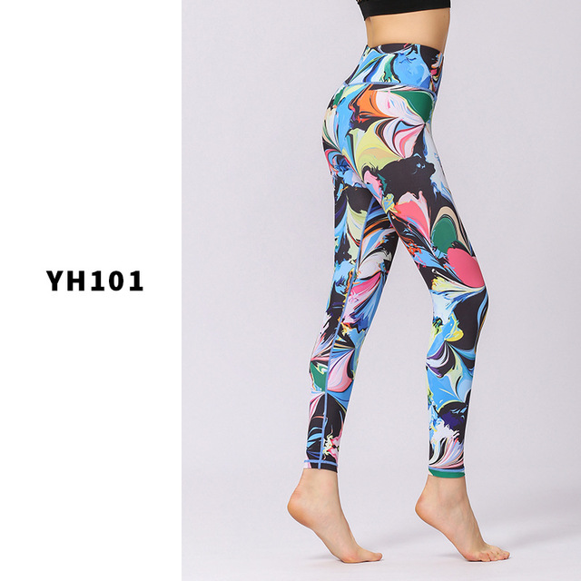 Flower Printed Yoga Pant Women High Waist Leggings Sports Tight Fitness Pants Slim Running Trousers Lady Beautiful Tights Gym 5