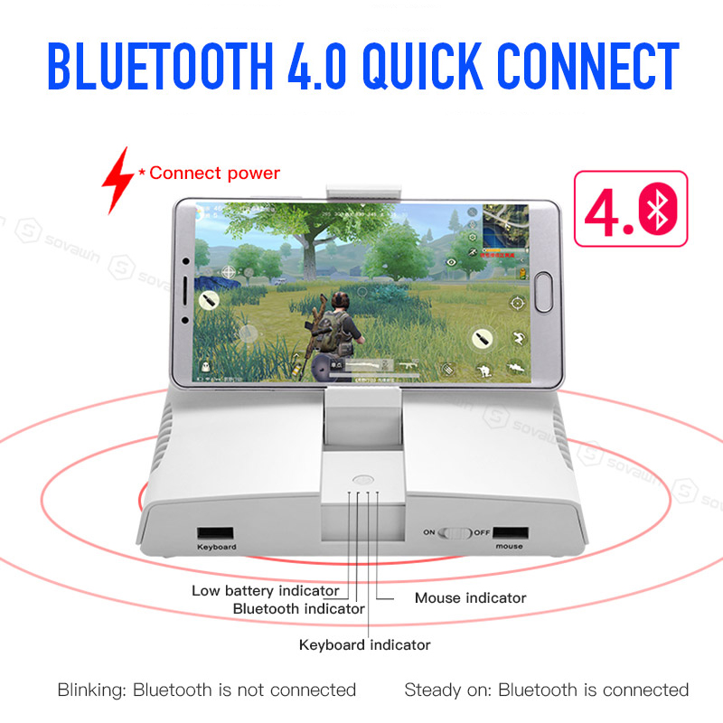 Portable PUBG Mobile Bluetooth Gamepad Gaming Keyboard Mouse Converter For  iPhone Android Phone to PC Adapter with Phone Holder