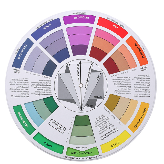 Double Sides Tattoo Pigment Color Wheel Chart Color Mix Guide
