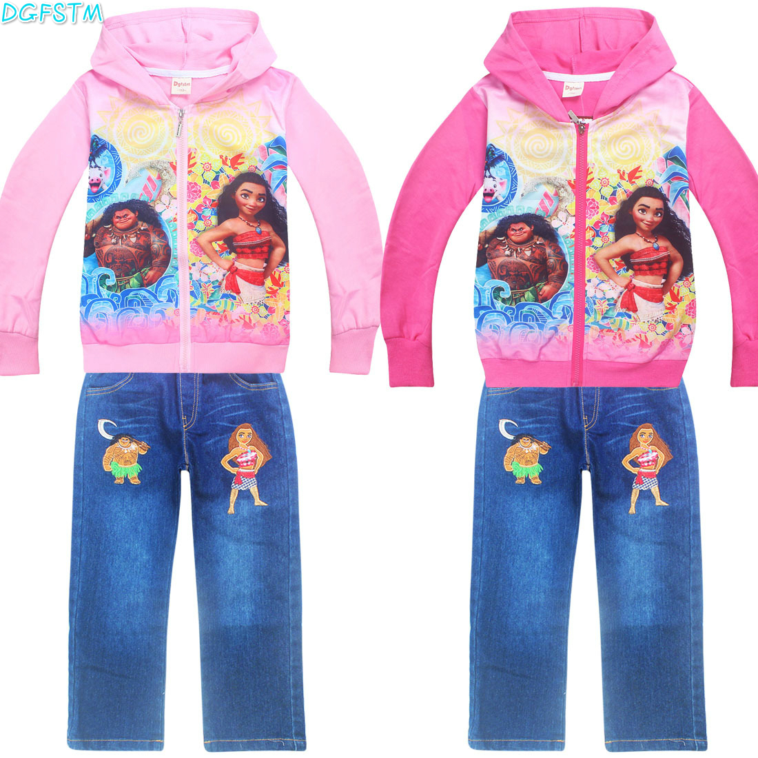 Baby girls Clothing Sets Spring Autumn Baby Vaiana sport suit toddler Clothes Top+jean Pants infant children Moana Clothes sets bibicola baby boy clothing sets spring autumn children long sleeve clothes bebe 3pcs tracksuit set toddler sport outfits suit