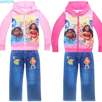 Baby Girls Clothing Sets Spring Autumn Baby Vaiana Sport Suit Toddler Clothes Top Jean Pants Infant