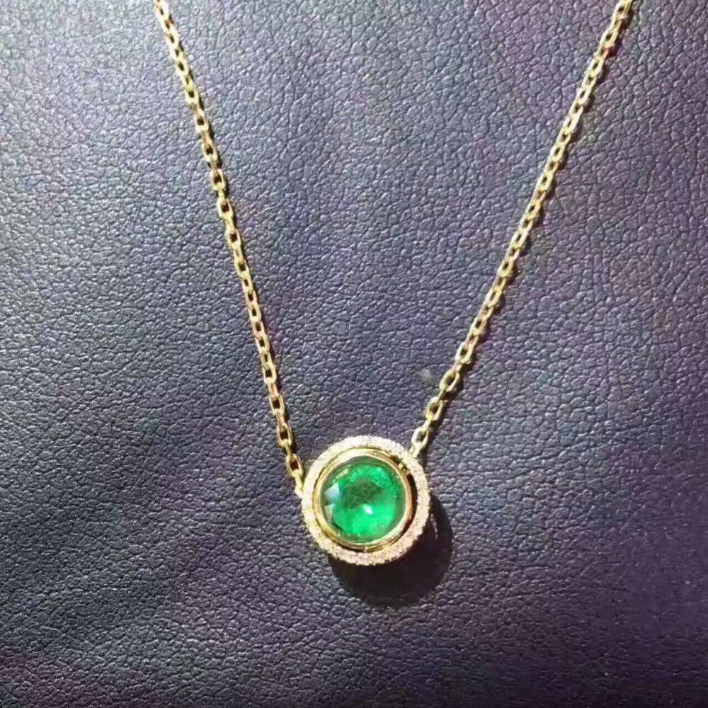 natural green emerald pendant S925 silver Natural gemstone Pendant Necklace Simple Small cute round two wears girl gift jewelry