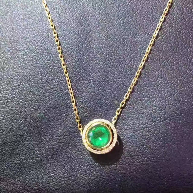 Natural green emerald pendant s925 silver natural gemstone pendant natural green emerald pendant s925 silver natural gemstone pendant necklace simple small cute round two wears aloadofball Images