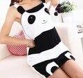 Meninas Balck Branco Panda Camisolas De Algodão Pijama de Verão Casa Oupa Sleepwears Pijama de Dormir Vestidos Das Mulheres