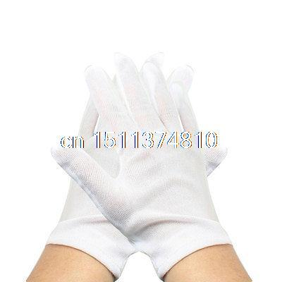 12 Pairs White Anti-stastic Jewelry Watch Inspection Full Finger Work Gloves