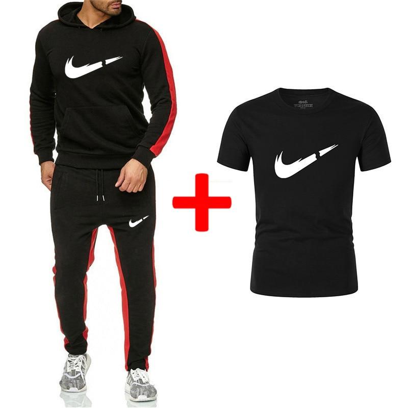 Fashion Brand Hoodies Sweatshirt Men/Women 2019 Hoodie Tracksuit Sport Suit Sweatshirts+Sweatpants+T Shirts Sets Fleece Hooded