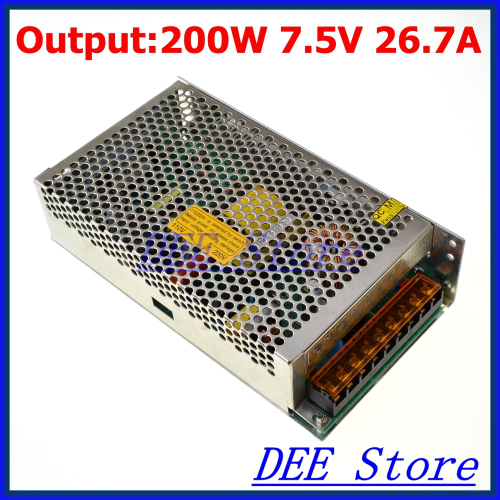 Led driver 200W 7.5V 26.7A Single Output Switching power supply unit for LED Strip light AC-DC Converter led driver 1200w 24v 0v 26 4v 50a single output switching power supply unit for led strip light universal ac dc converter
