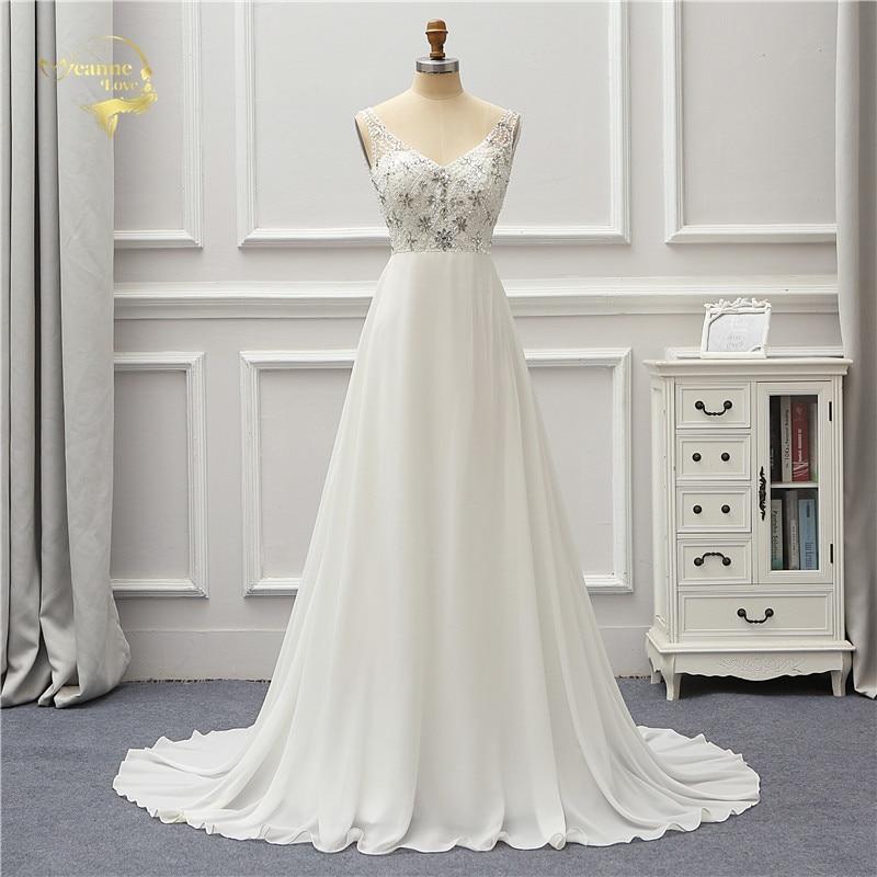 Backless Wedding Dresses 2019: Jeanne Love Chiffon Wedding Dresses 2019 Robe De Mariage