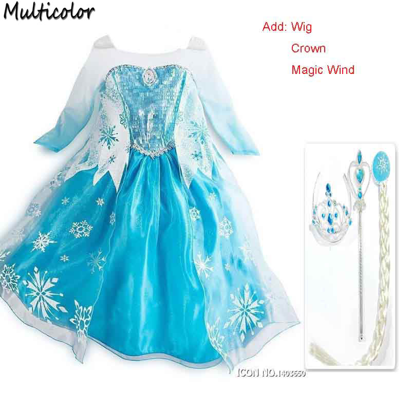 Crown Set Elsa Dress Girls Costumes Kids Cosplay Party princess Anna Dresses Fantasia Elza Vestidos Infants For Children Clothes
