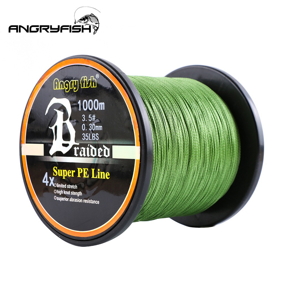 Angryfish atacado 1000m 4 fios trançado linha de pesca 8 cores super pe linha forte força