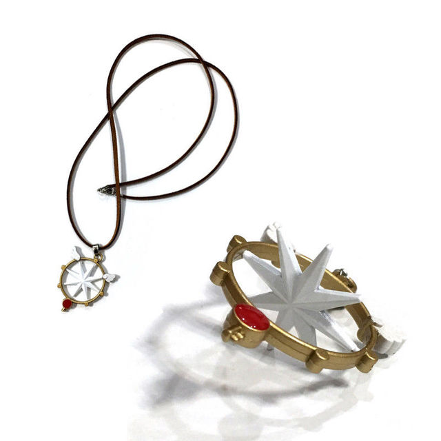 Card Captor Sakura Kinomoto Clear Card Rotatable Key Pendant Model Metal Necklace Toy Gift Collection