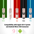 Noodle Shape 2-IN-1 Micro USB Cable 5Colors 1M TPE Material Micro USB Cables For iPhone&Samsung Xiaomi Huawei Meizu LG Android