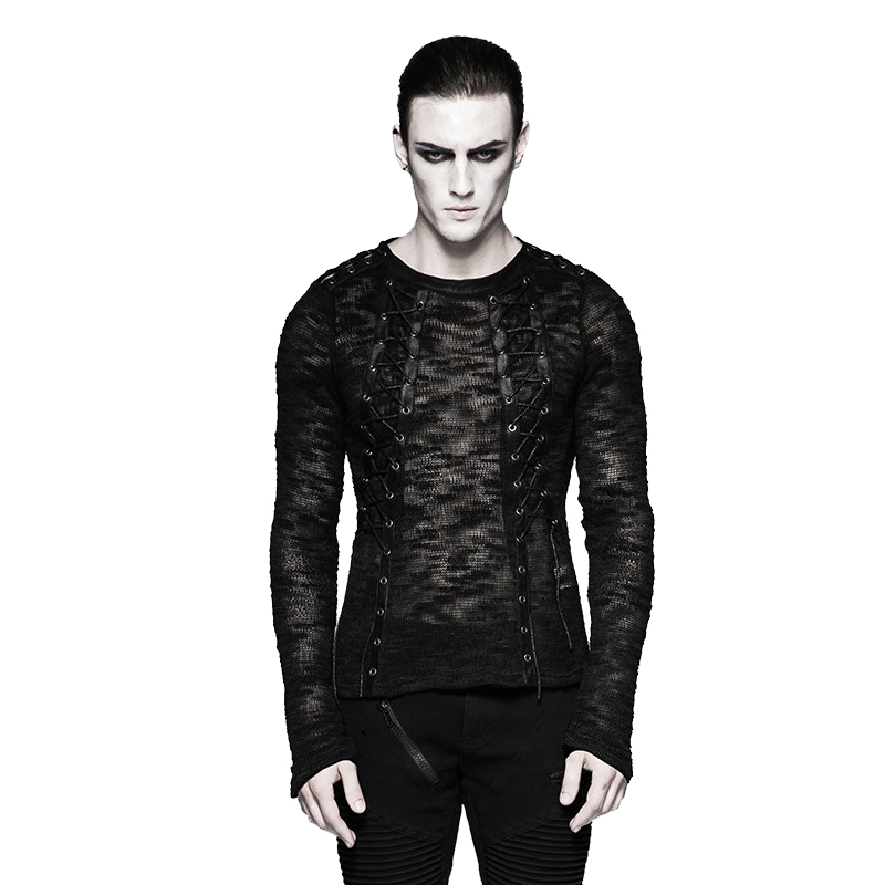 Newborn Designer Lace-Up Knitting Men Sweater Shirts Gothic Hollow-Out Strappy Sweater Long-Sleeved Round Neck Tie Tight Sweater