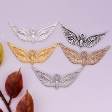 1pc  38mm mini angel wing pendant European & American for women DIY jewelry accessories charm necklace bracelet making with girl