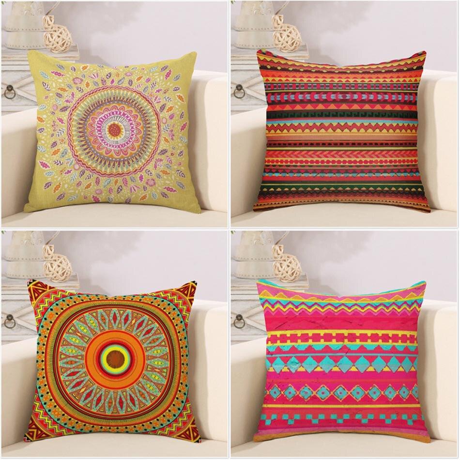 16 Ethnic pattern geometic stripe multi color square decorative ...