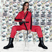 Cargo Red Jumpsuit Women Long Pants Long Sleeve Pocket Streetwear Sexy Jumpsuit Trousers Solid Loose Bib Capri Harem Pants(China)