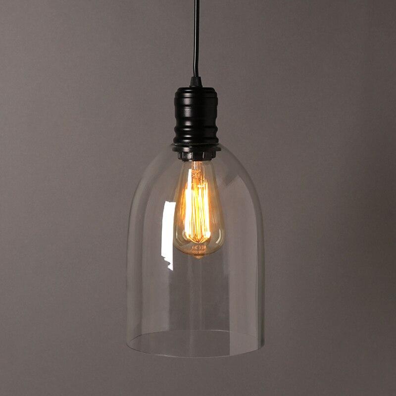 Luzes pingente de ferro do vintage vidro branco pendurado sino pingente lâmpada e27 110 v 220 v para sala jantar decoração casa planetário hm41