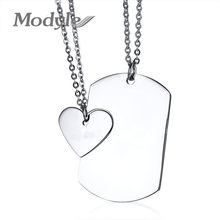 Modyle Couple Necklace ID Dog Tag Heart Pendant High Polished Stainless Steel Trendy Women Men Jewelry(China)