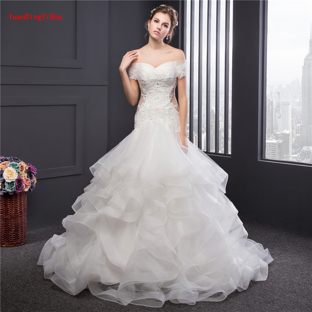 Wedding Gowns With Ruffles: Real Photo Luxury Top Quality Lace Up Mermaid Wedding