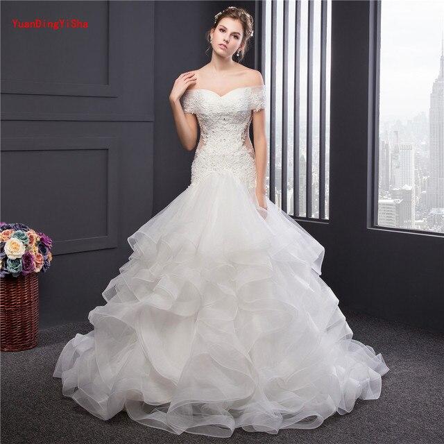 Real Photo Luxus Top Qualität Lace Up Meerjungfrau Hochzeitskleid ...